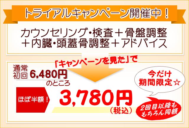 トライアルキャンペーン価格の案内。通常6480円を3780円(税込)にて