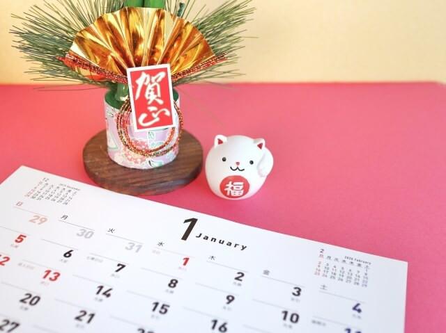 新年のカレンダーと門松、干支のネズミの置物